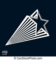 Vector celestial object, pentagonal comet star illustration,...