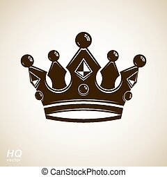 Vector vintage crown, luxury coronet illustration. Royal...