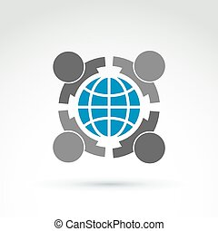 Vector conceptual society symbol, earth protection icon,...