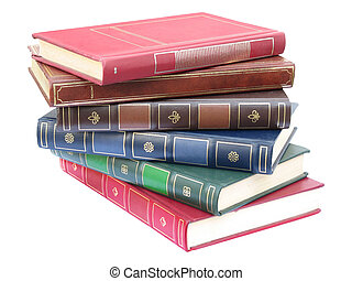 Books pile 02 - Pile of artificial leather bound books,...