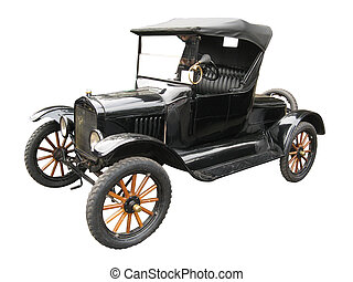 Antique car - Antique black car isolated on white background