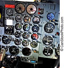 Dial gauges on aircraft control panel - Dials and gauges for...