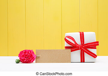 Blank Tag with Carnation Flower and Gift Box on Sides -...