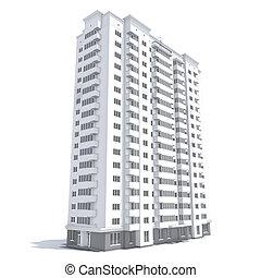 Multi-storey building - 3d rendering of modern multi-storey...