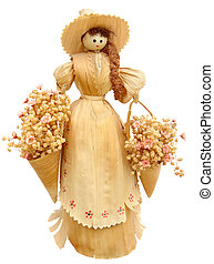 Corn husk doll isolated on white background