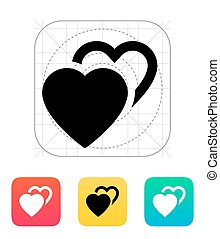 Two hearts icon. Vector illustration.