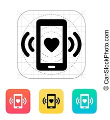 Romantic phone call icon Vector illustration