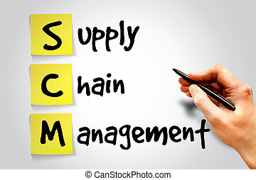 Supply Chain Management SCM sticky note, business concept...