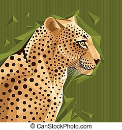 Portrait of a leopard vector illustration - Portrait of a...