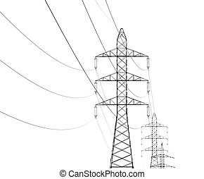Overhead power line - overhead power line isolated on white...