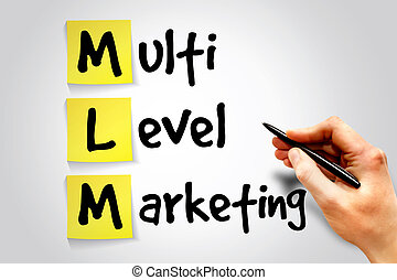 Multi level marketing (MLM) sticky note, business concept...