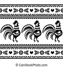 Seamless Polish monochrome folk art - Repetitive cutout...