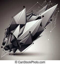 Asymmetric 3D abstract object with connected lines and dots,...