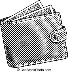 wallet - Engraved illustration of wallet full of dollars