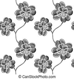 clover - Engraved seamless pattern with four leaf clover
