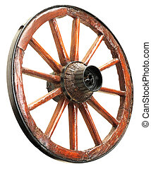 Cart Wheel - Antique Cart Wheel made of wood and iron-lined,...