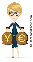Business woman holding bags - Young adult blonde business...