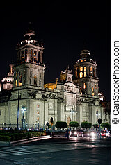 mexico city cathedral by night