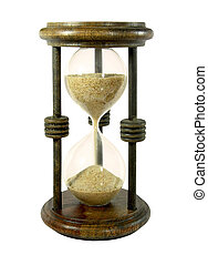 Sand clock - Hourglass with a sand trickle flowing, isolated...