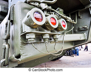 rear lights on military truck closeup - rear lights on a...