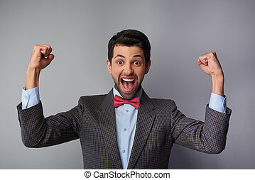 Very happy and positive casual young man - Portrait of very...
