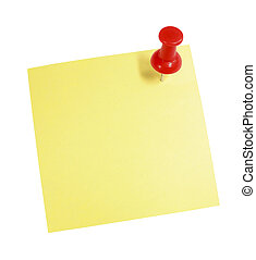 Pushpin-Note - Blank yellow note with a pushpin suitable for...