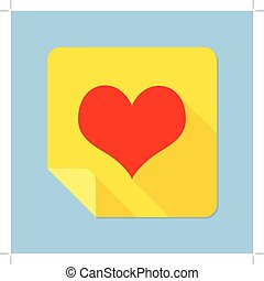 Notepad Heart - Heart Self Stick Notes Vector illustration...