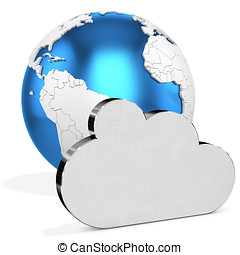 3d silver Cloud  with earth globe