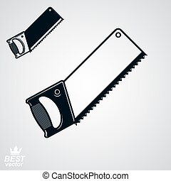 Stylized metal saw with sharp teeth, clear eps8 vector...