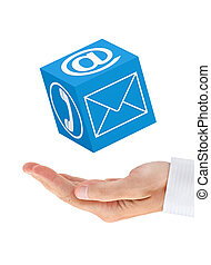 Businessman hand with communication cube (isolated)