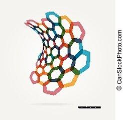 onda, abstratos, vetorial, modelo, hexágonos