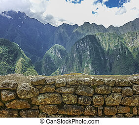 Aerial View of Big Mountains from Machu Picchu