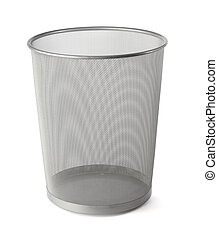 Waste basket - Empty grey metallic mesh waste basket on...