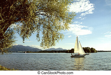 Sailboats on the lake Chiemsee in summer