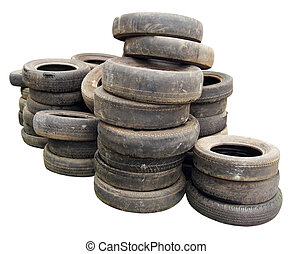 Stack of old tires - Old tires stacked, isolated on white...