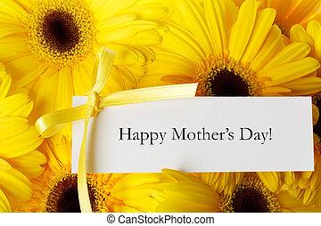 madres, día, tarjeta, con, amarillo, gerberas,