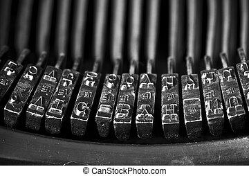 old typewriter - closeup of an old typewriting machine