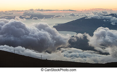 View From Mountain Summit - View from above clouds in Muai...