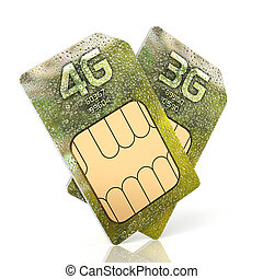 3G and 4G smartphone sim card isolated on white background