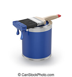 Blue paint in the opened can with brush Renovation concept -...