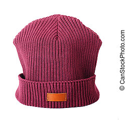 Vinous hat - Vinous winter hat on a white background
