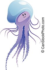 Jellyfish - Vector image of a cartoon happy jellyfish
