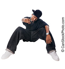 Hip-hop youngster - Cool hip-hop youngster isolated on white...