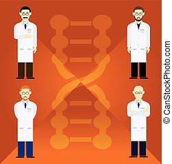 Scientists - Vector image of  set with four scientists