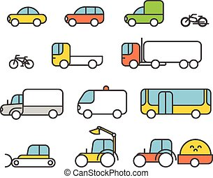 Different transport silhouette icons collection Design...
