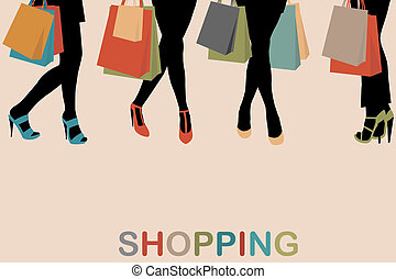 Vintage women silhouettes legs with high heels and shopping...