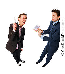 intimidation - two businessmen making business isolated on...