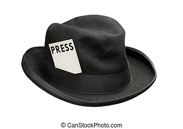 Meet the press - Old fedora felt hat with a press card