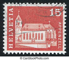 Mauritius Church - SWITZERLAND - CIRCA 1968: stamp printed...