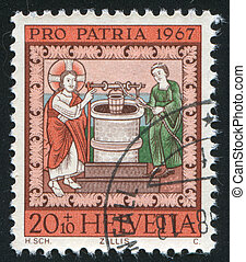 Jesus and the Samaritan Woman at the Well - SWITZERLAND -...